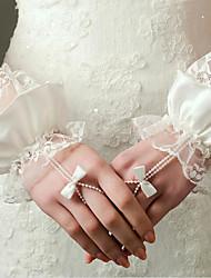 Novo comprimento do pulso luva de luva sem dedos / luvas de nácar elástico de cetim com pérolas / babados / arco / rendas