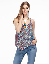 Women's Going out Simple Summer Tank Top,Geometric Strap Sleeveless Blue Polyester Thin