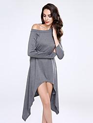 Damen Lang Pullover-Übergröße Solide Schwarz Grau Langarm Baumwolle Leinen Andere Winter Dick Mikro-elastisch