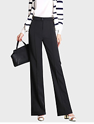 Women's Solid White / Black Business Pants,Street chic Fall