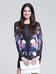 Women's Club Chinoiserie Sheath Dress,Floral Round Neck Mini Long Sleeve Black Cotton Fall High Rise Micro-elastic Thin