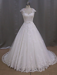 A-line Sweetheart Sweep / Brush Train Tulle Wedding Dress with Appliques