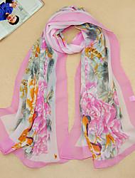 Women's Chiffon Flowers Print Scarf,Purple/Red/Pink/Blue/Beige/Yellow