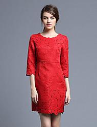 las mujeres Joj va a salir vestido de la envoltura atractiva, cuello redondo sólido por encima de manga larga primavera de algodón blanco de rodilla