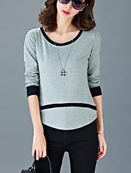Tee-shirt Aux femmes,Mosaïque Décontracté / Quotidien simple Eté Manches Longues Col Arrondi Gris / Orange Coton Fin