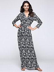 Women's Party/Cocktail Sexy A Line Dress,Print Deep V Maxi Long Sleeve Black Cotton / Polyester / Spandex Fall
