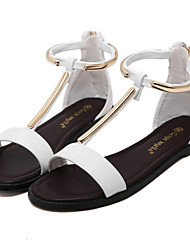Women's Sandal T-Strap Open Toe Flat Sandal for Dress/Casual/Party Black and White Color Available