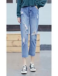 Women's Solid Blue Jeans Pants,Street chic