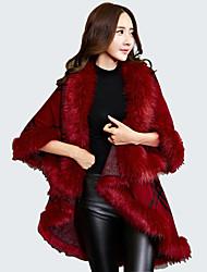 Women's Plus Size Vintage Long Cloak / Capes,Patchwork Red / Black / Gray Long Sleeve Wool / Acrylic Winter Medium