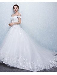 A-line Wedding Dress Court Train Spaghetti Straps Tulle with Beading / Ruffle / Appliques