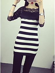 Women's Casual/Daily Simple Bodycon Dress,Striped Asymmetrical Above Knee Long Sleeve Black Cotton Spring / Fall