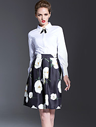 Women's Casual/Daily Simple Two Piece Dress,Print Shirt Collar Above Knee Long Sleeve White Polyester Spring