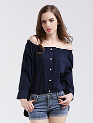 Women's Casual/Daily Street chic Summer / Fall Shirt,Solid Boat Neck Long Sleeve Blue Cotton Medium