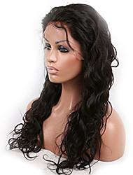peluca llena del cordón de la onda del cuerpo peruano virginal del pelo 8-26 pulgadas con el pelo del bebé