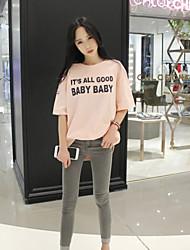 Damen Druck Sexy Lässig/Alltäglich T-shirt,Rundhalsausschnitt Sommer ½ Länge Ärmel Rosa / Weiß / Schwarz / Grau Baumwolle / Leinen Dünn