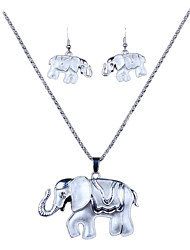The New European Silver Alloy Elephants Necklace Earrings Set