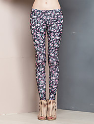 Women's Floral Pink Skinny Pants,Simple