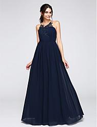 2017 ts Couture® soirée formelle robe d'une ligne bijou parole longueur chiffon avec appliques / boutons / drapage