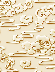 JAMMORY Art DecoWallpaper For Home Wall Covering Canvas Adhesive required Mural Yellow Clouds Relief3XL(14'7''*9'2'')