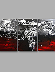 "Stretched (Ready to hang) Hand-Painted Oil Painting 48""x28"" Canvas Wall Art Modern Abstract Black Red White"
