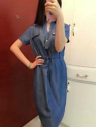 Mujer Vaina Vestido Noche Simple,Un Color Escote Chino Sobre la rodilla Manga Corta Azul Algodón Verano Tiro Medio Microelástico Medio