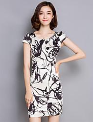 Women's Plus Size Vintage Bodycon Dress,Print Round Neck Mini Short Sleeve White Polyester Summer