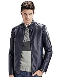 Men's Long Sleeve Casual / Sport Jacket,PU Solid Black / Blue