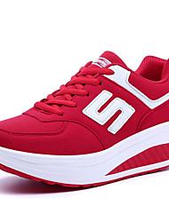 Damen-Sneaker-Lässig-PU-Flacher Absatz-Komfort-Schwarz Rosa Rot