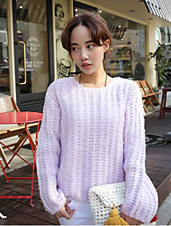 Women's Going out /Cute Regular Pullover,Solid Purple Round Neck Long Sleeve Others Winter Medium