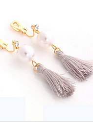 Women's Gray Material Pink Tissue Tassel Drop Clip-on Earrings