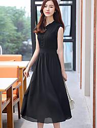 Mulheres Swing Vestido,Casual Simples Sólido Colarinho Chinês Médio Manga Curta Branco / Preto / Roxo Raiom Verão