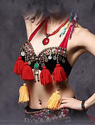 Dança do Ventre Blusas Mulheres Actuação Algodão / Poliéster / Metal Enfeites / Moedas / Botões / Borla(s) 1 Peça Sem Mangas Caído