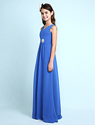 Lanting Bride® Floor-length Chiffon Junior Bridesmaid Dress Sheath / Column V-neck with Crystal Detailing / Criss Cross