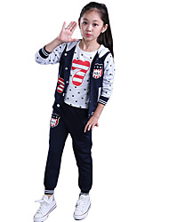Girl's Cotton Spring/Autumn Sports Clothing Sets Childrens Clothes Three-piece Set