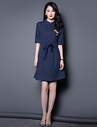 Boutique S Going out / Casual/Daily/ Sophisticated Loose Dress,Solid Shirt Collar Knee-length ½ Length Sleeve Blue