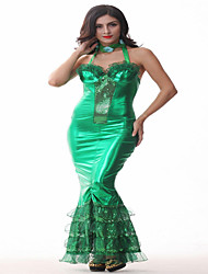 Costumes Déguisements de contes de fées Halloween / Carnaval / Fête d'Octobre Vert Couleur Pleine Polyester Robe / Collier