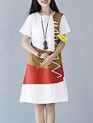 Ample Robe Femme Sortie Vintage,Mosaïque Col Arrondi Mi-long Manches Courtes Blanc Beige Gris Orange Coton Lin Eté Taille Normale
