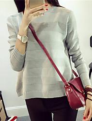 Damen Standard Pullover-Lässig/Alltäglich Einfach Solide Rot / Schwarz / Grau / Lila Rundhalsausschnitt Langarm Baumwolle Winter Mittel