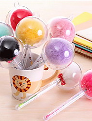 Creative Cute Fur Ball Pen Needle Tube Pen Plush Gel Pen (Random Color)