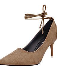 Women's Heels Spring / Fall Comfort Suede Casual Low Heel  Black / Red / Khaki Walking