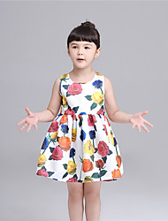 KIMOCAT   Girl's Casual/Daily Floral Dress,Cotton Summer White