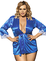 Women Sexy Pure Color Fifth Sleeve Cardigan Bow Lace Silk Nightgown Lingerie