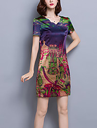 Women's Casual/Daily / Plus Size Vintage Shift Dress,Print Asymmetrical Above Knee Short Sleeve Purple Silk Spring / Summer Low Rise