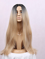 Women's Synthetic Wig Long Straight Hair Ombre 1B/Blonde Color Wigs Heat Resistant Cospaly Wig
