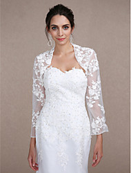 Women's Wrap Shrugs Long Sleeve Lace Ivory Wedding / Party/Evening Scoop  Beading / Lace Open Front