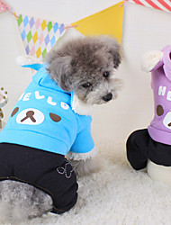 Dog Hoodie Green / Blue / Purple Winter / Spring/Fall Cartoon Fashion, Dog Clothes / Dog Clothing