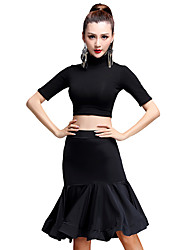 Latin Dance Outfits Women's Training Rayon / Modal / Viscose Draped 2 Pieces Latin Dance Half Sleeve High Top / Skirt