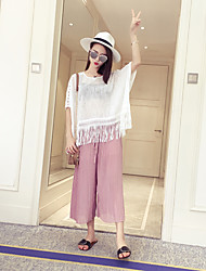 Women's Solid Pink Wide Leg Pants,Simple