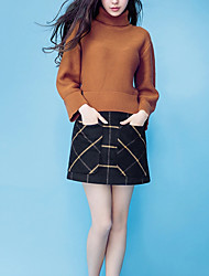 Women's Casual/Daily Street chic Winter Set Skirt Suits,Plaid Turtleneck Long Sleeve Brown Cotton Medium