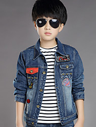 Boy's Cotton Spring/Autumn Fashion Stars Patchwork Cowboy Outerwear Solid Color Long Sleeve Sport Denim Jacket Coat
